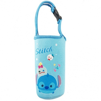 小禮堂 迪士尼TsumTsum 史迪奇 潛水布水壺袋 環保杯袋 飲料杯袋 (藍 大臉)