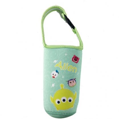 小禮堂 迪士尼TsumTsum 三眼怪 潛水布水壺袋 環保杯袋 飲料杯袋 (綠 大臉)