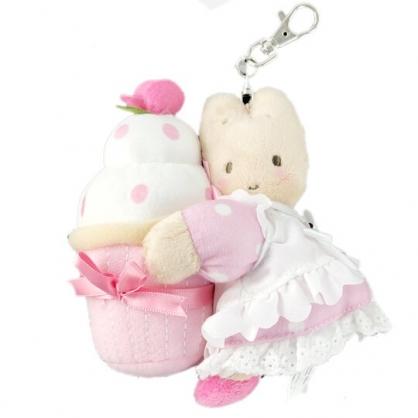 小禮堂 兔媽媽 絨毛吊飾 玩偶吊飾 玩偶鑰匙圈  (粉 杯子蛋糕)