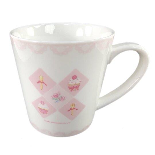小禮堂 兔媽媽 陶瓷馬克杯 咖啡杯 陶瓷杯 寬口杯 400ml (粉 杯子蛋糕)