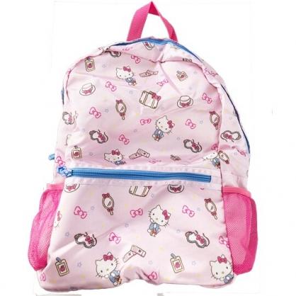 小禮堂 Hello Kitty 折疊尼龍後背包 旅行背包 盥洗包 手提化妝包 (粉 行李箱)
