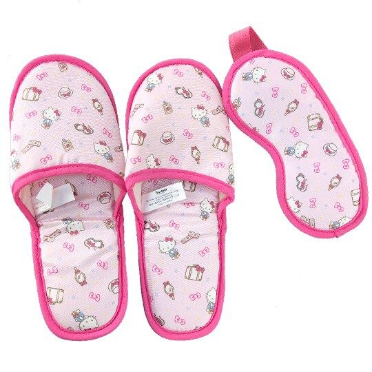 小禮堂 Hello Kitty 尼龍旅行眼罩拖鞋收納包組 室內拖鞋 盥洗包 旅行組 (粉 行李箱)