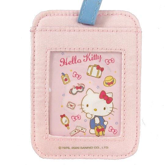 小禮堂 Hello Kitty 方形尼龍行李吊牌 姓名掛牌 票卡夾 (粉 行李箱)