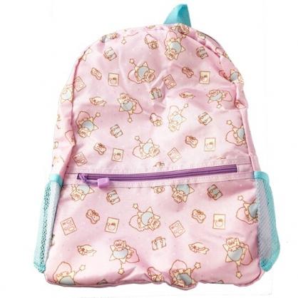 小禮堂 雙子星 折疊尼龍後背包 旅行背包 盥洗包 手提化妝包 (紫 行李箱)