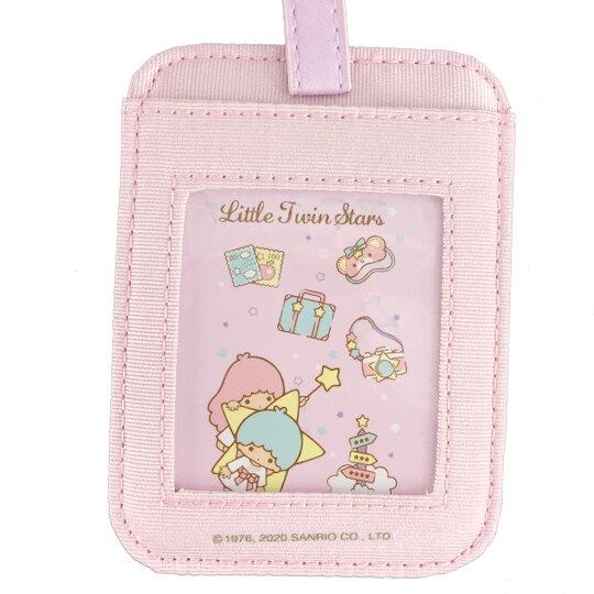 小禮堂 雙子星 方形尼龍行李吊牌 姓名掛牌 票卡夾 (紫 行李箱)