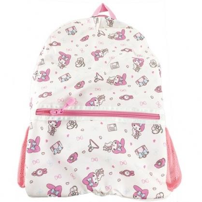 小禮堂 美樂蒂 折疊尼龍後背包 旅行背包 盥洗包 手提化妝包 (米 行李箱)