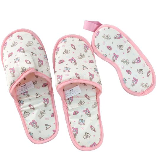 小禮堂 美樂蒂 尼龍旅行眼罩拖鞋收納包組 室內拖鞋 盥洗包 旅行組 (米 行李箱)