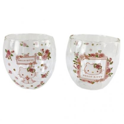 小禮堂 Hello Kitty 雙層透明玻璃杯組 透明水杯 情侶對杯 250ml (2入 粉 玫瑰)
