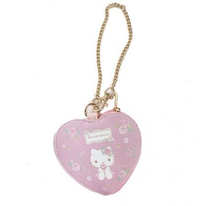 小禮堂 Hello Kitty 愛心造型皮質零錢包 吊飾零錢包 小物收納包 (粉 玫瑰)