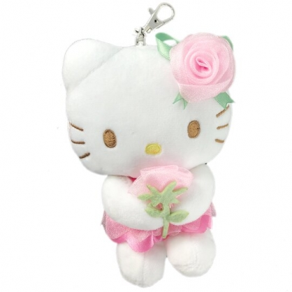小禮堂 Hello Kitty 絨毛吊飾 玩偶吊飾 玩偶鑰匙圈  (粉 玫瑰花)
