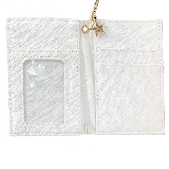 小禮堂 雙子星 皮質鍊條票卡夾 車票夾 證件夾 名片夾 (粉白45週年)