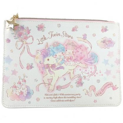 小禮堂 雙子星 皮質扁平收納包 皮質化妝包 文具袋 (粉白 45週年)