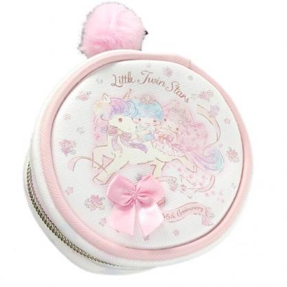 小禮堂 雙子星 迷你圓形皮質化妝包 飾品收納包 小物收納包 (粉白 45週年)