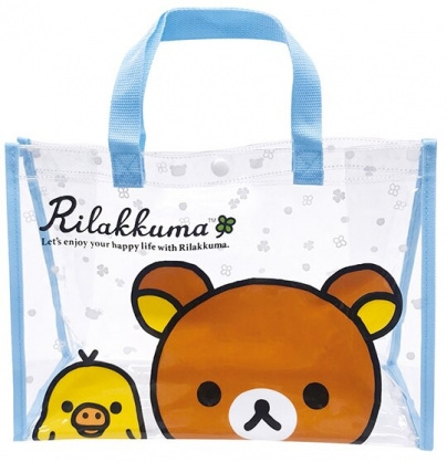 小禮堂 懶懶熊 透明海灘袋 透明側背袋 防水提袋 泳具袋 (藍棕 大臉)