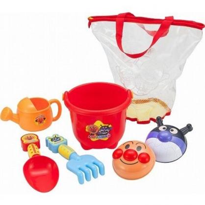 小禮堂 麵包超人 手提挖沙玩具組 沙灘玩具 澆水器 玩具鏟 附透明提袋 (紅 星星)