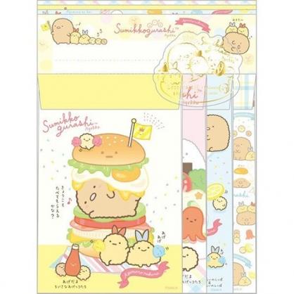 小禮堂 角落生物 日製 信紙組 信封 萬用卡片 便條紙 (黃棕 漢堡)