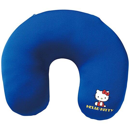 小禮堂 Hello Kitty 大臉造型可收納尼龍U型頸枕 護頸枕 旅行枕 午睡枕 (紅白)