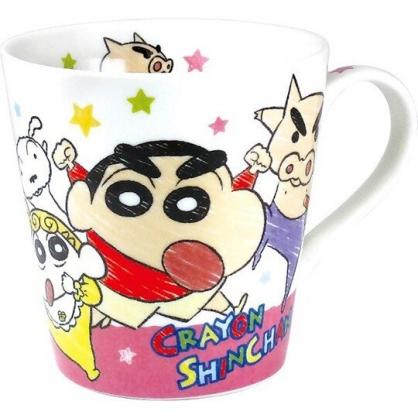 小禮堂 蠟筆小新 陶瓷馬克杯 咖啡杯 陶瓷杯 (黃粉 塗鴉感)