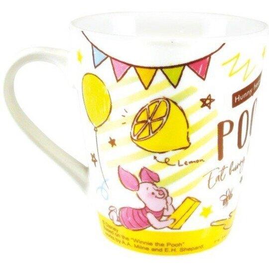 小禮堂 迪士尼 小熊維尼 陶瓷馬克杯 咖啡杯 陶瓷杯 (黃粉 塗鴉)