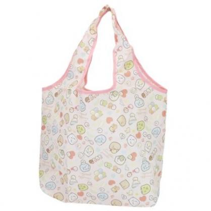 小禮堂 角落生物 折疊尼龍環保購物袋 環保袋 側背袋 (粉 玩偶)