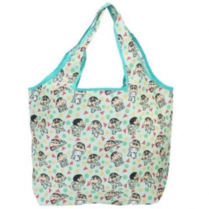 小禮堂 蠟筆小新 折疊尼龍環保購物袋 環保袋 側背袋 (綠 睡衣)
