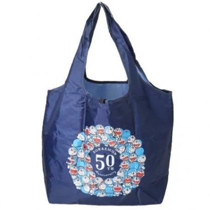小禮堂 哆啦A夢 折疊尼龍環保購物袋 環保袋 側背袋 (深藍 50週年)