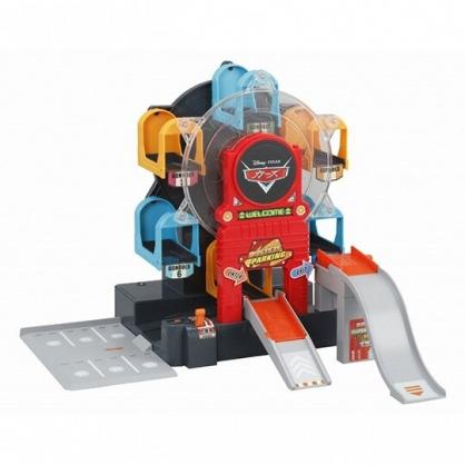 小禮堂 TOMICA 閃電麥坤 電動摩天輪停車塔 汽車收納盒 停車場玩具 (黑紅)