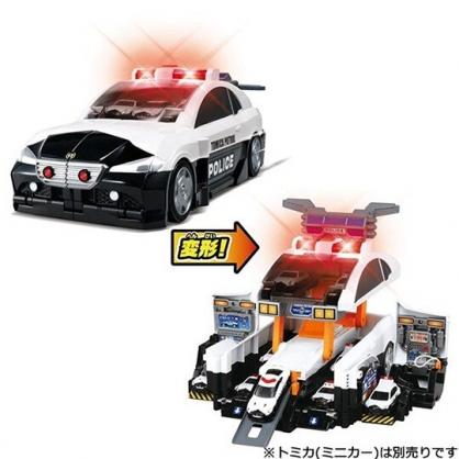 小禮堂 TOMICA多美小汽車 變形警車基地 汽車收納盒 變形玩具車 (黑紅)