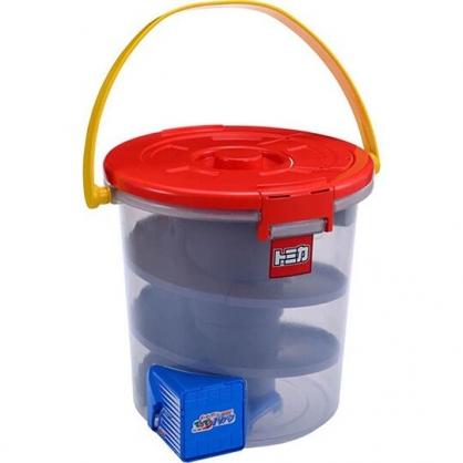 小禮堂 TOMICA多美小汽車 滑行汽車收納桶 汽車收納盒 停車場玩具 (紅)