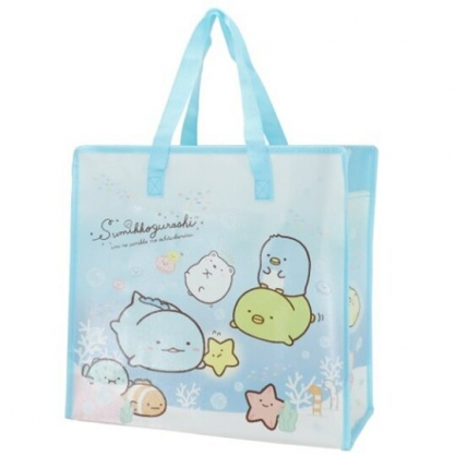 小禮堂 角落生物 方形防水購物袋 環保購物袋 衣物收納袋 側背袋 (藍 海底)