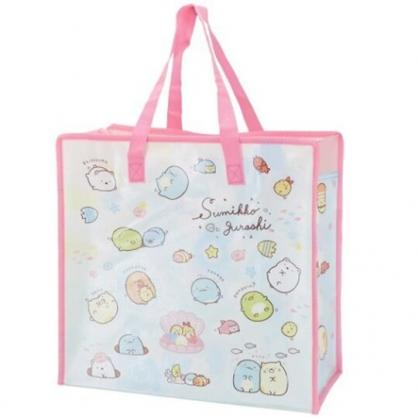 小禮堂 角落生物 方形防水購物袋 環保購物袋 衣物收納袋 側背袋 (粉藍 貝殼)