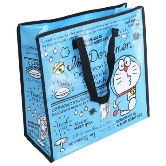 小禮堂 哆啦A夢 方形防水購物袋 環保購物袋 衣物收納袋 側背袋 (深藍 文字)