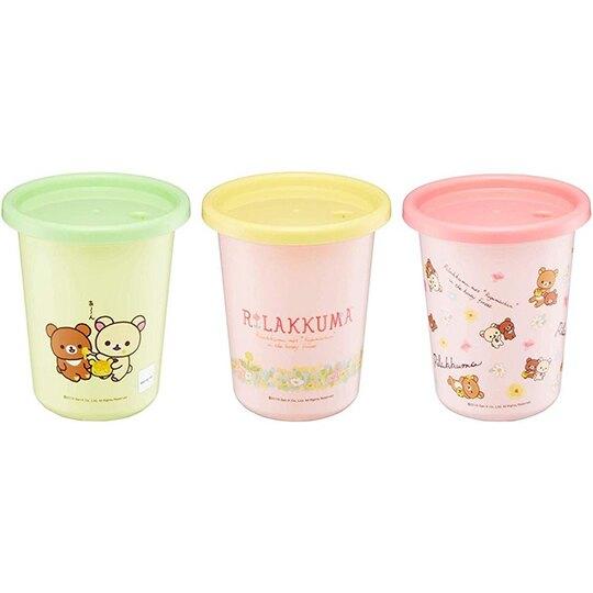 小禮堂 懶懶熊 日製 塑膠吸管杯 塑膠杯 飲料杯 派對杯 附蓋 320ml (3入 黃粉 花園)