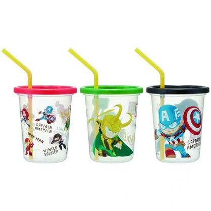 小禮堂 漫威英雄 日製 塑膠吸管杯 塑膠杯 飲料杯 派對杯 附蓋 320ml (3入 黑白 Q版)