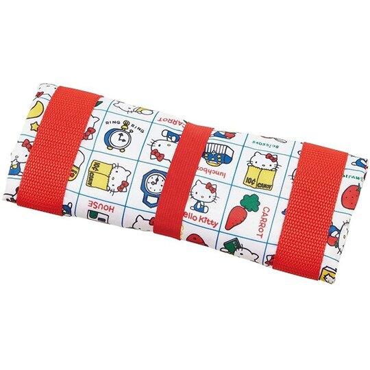 小禮堂 Hello Kitty 折疊尼龍環保購物袋 束口提袋 環保袋 側背袋 (紅白 格線)