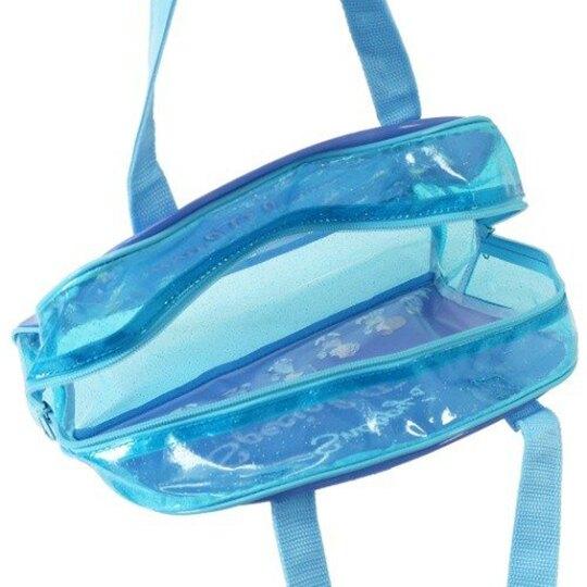 小禮堂 史努比 透明海灘袋 波士頓包 防水提袋 泳具袋 (藍 冰淇淋)