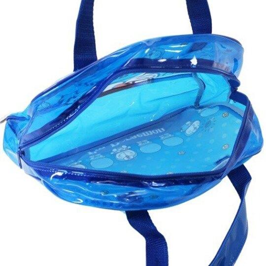 小禮堂 哆啦A夢 透明海灘袋 波士頓包 防水提袋 泳具袋 (深藍 大臉)