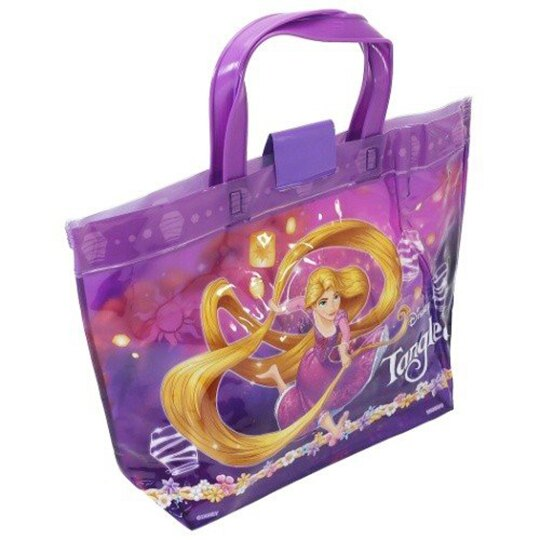 小禮堂 迪士尼 長髮公主 透明海灘袋 水桶袋 防水提袋 泳具袋 (紫黃 拉裙)