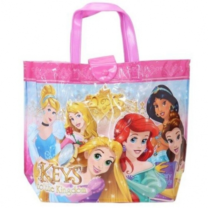 小禮堂 迪士尼 公主 透明海灘袋 水桶袋 防水提袋 泳具袋 (桃黃 禮服)
