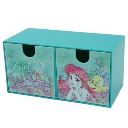 小禮堂 迪士尼 小美人魚 橫式塑膠雙抽收納盒 塑膠抽屜盒 文具盒 (綠 摸臉)