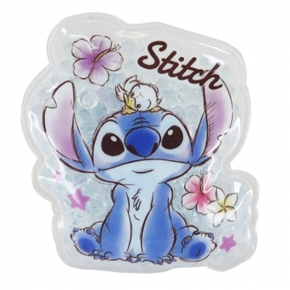 小禮堂 迪士尼 史迪奇 造型透明果凍顆粒保冷劑 保冰劑 冰敷袋 (藍 花朵)