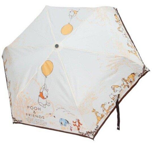 小禮堂 迪士尼 小熊維尼 彎把防風傘骨折疊傘 防風折傘 雨傘 (黃棕 汽球)