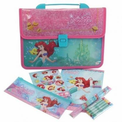 小禮堂 迪士尼 小美人魚 繪圖文具組附手提包 鉛筆 筆袋 蠟筆 橡皮擦 (粉綠 城堡)