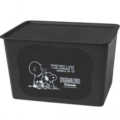 小禮堂 史努比 日製 方形塑膠拿蓋收納箱 玩具箱 衣物箱 17L (L 黑 摸頭)