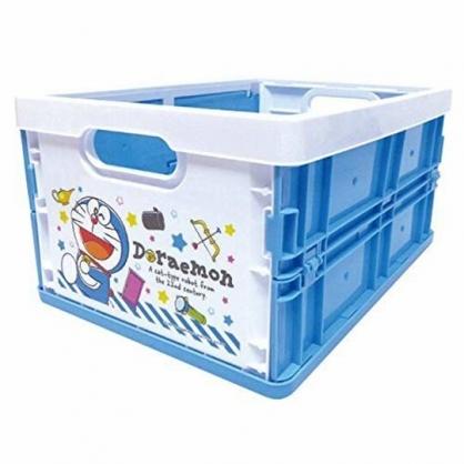 小禮堂 哆啦A夢 塑膠折疊無蓋收納箱 CD收納盒 折疊收納盒 (M 藍白 50週年)