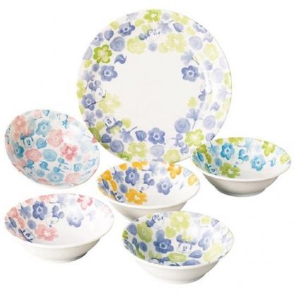 小禮堂 迪士尼 米奇米妮 日製 陶瓷碗盤組 湯碗 飯碗 沙拉盤 淺盤 (6入 紅藍 花朵)