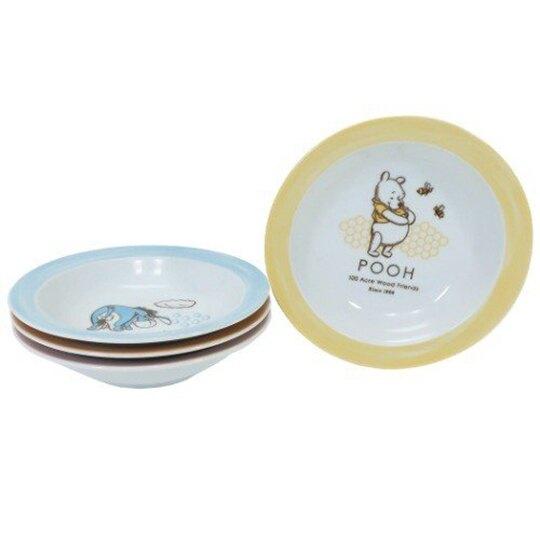 小禮堂 迪士尼 小熊維尼 日製 陶瓷圓盤組 沙拉盤 點心盤 深盤 (4入 黃 角色)