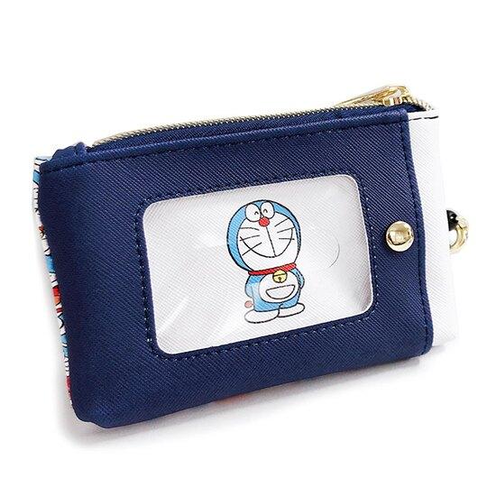 小禮堂 哆啦A夢 皮質拉鍊票卡零錢包 票卡夾 小物收納包 (深藍 50週年)