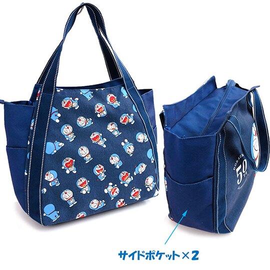 小禮堂 哆啦A夢 牛仔布側背袋 托特包 牛仔布手提袋 購物袋 (深藍 50週年)