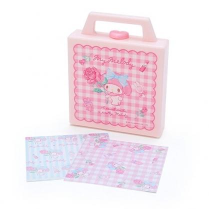 小禮堂 美樂蒂 便條紙組 附手提收納盒 名片盒 小物收納 (粉 玫瑰格紋)